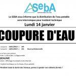 SEBA Coupure d'eau lundi 14/01 secteurs BUISSIERE et BIGOURNETTE entre 14h et 15h