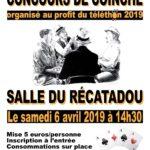 Concours de coinch samedi 6/04 à 14h30 au Récatadou