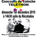 Concours de Coinche, Téléthon, Dimanche 1/12 à 14h30, Récatadou