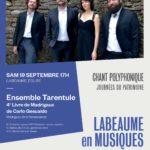 Labeaume en Musiques, concert gratuit samedi 19/09 à 17h Eglise de Chapias